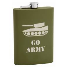 "12oz Olive Drab ""Army"" Hip Flask with Rubber Coating"