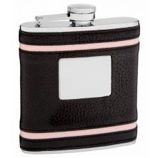 6oz Faux Leather Flask with Pink Accents and Engraving Area