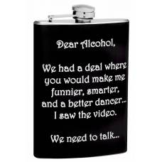"8oz ""Dear Alcohol"" Hip Flask"