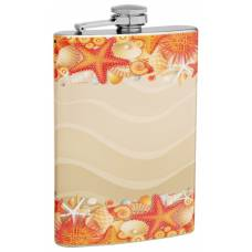 "8oz ""Seashells and Sand"" Flask"