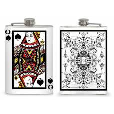 "8oz ""Queen of Spades"" card flask"