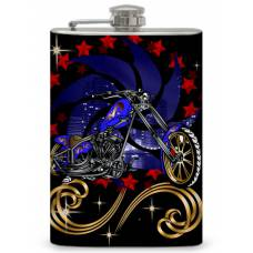 "8oz ""Blue Motorcycle"" Flask"