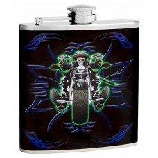 6oz Skeleton Motorcycle Rider Hip Flask