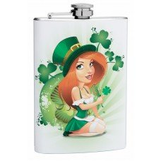 8oz Sexy Irish Woman Hip Flask with Shamrocks