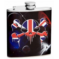 6oz British Flag and Skull Hip Flask
