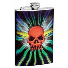 8oz Drinking Flask with Skull Design