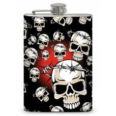 """8oz """"Skull with Barbed Wire Halo"""" Flask"""