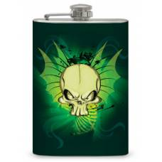 """8oz """"Green Skull with Wings"""" Flask"""
