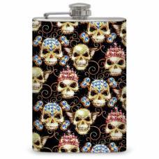 """8oz """"Bling Skulls"""" Flask"""