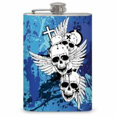 "8oz ""Skulls with Wings"" Flask"