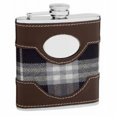 6oz Plaid Golf Flask with Faux Leather Accents