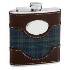 6oz Plaid Golf Hip Flask with Faux Leather Trim