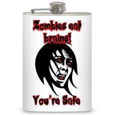 "8oz ""Zombies eat brains"" Flask"