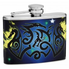 "4oz ""Dueling Dragons"" Hip Flask"
