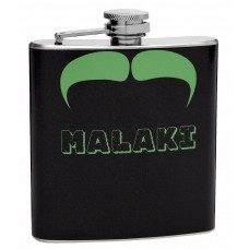 Green and Black 6oz Mustache Hip Flask