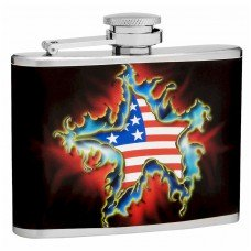 4oz American Flag and Star Flask