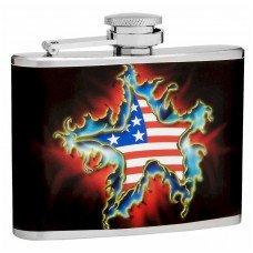 4oz American Flag and Star Flask