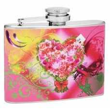 4oz Hip Flask With Printed Bouquet of Flowers