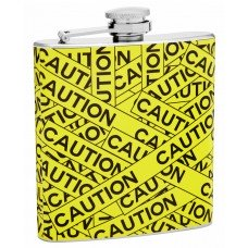 "6oz ""Caution Tape"" Hip Flask"