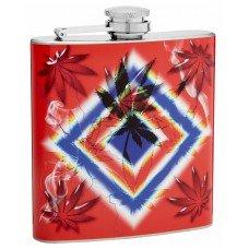 6oz Psychedelic Pot Leaf Hip Flask