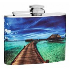 "4oz ""Walk to the Ocean"" Landscape Hip Flask"