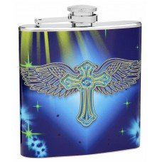 6oz Holy Cross with Wings Hip Flask