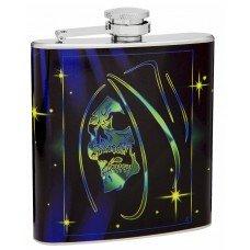 6oz Hip Flask with Grim Reaper Skeleton