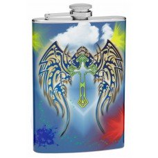 8oz Cross and Angel Wing Hip Flask
