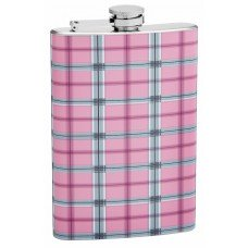 8oz Pink Plaid Hip Flask
