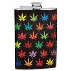 Colorful 8oz Pot (Weed) Leaf Hip Flask