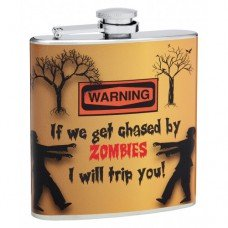 "6oz ""Chased by Zombies"" Hip Flask"