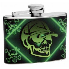 "4oz ""Mean Green"" Skull and Crossbones Pocket Flask"
