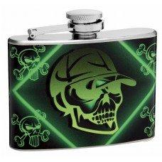 "4oz ""Mean Green"" Skull and Crossbones Pocket Flask"