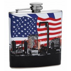 6oz Patriotic American Flag and City Flask