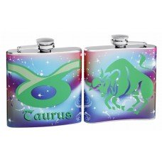 "Taurus ""Sign of the Zodiac"" 6oz Hip Flask"