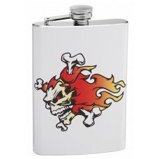 Fiery Skull and Crossbones 8oz Hip Flask