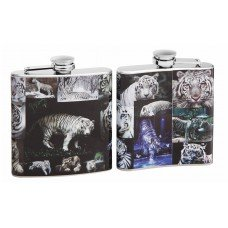 Full Color White Tiger Collage on 6oz Flask