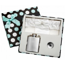 3oz White Garter Belt Flask in Gift Box, Free Personalization