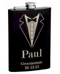 8oz Black Tuxedo Groomsmen Hip Flask with Personalization