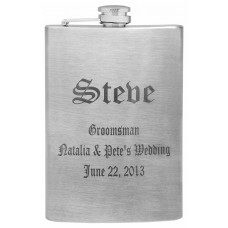 8oz Groomsman Flask, Custom Laser Engraved