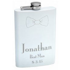 8oz White Powder Coat Painted Bow Tie Hip Flask
