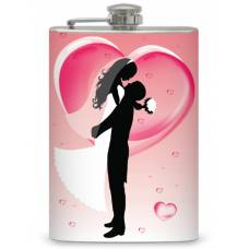 8oz Pink Bride and Groom Flask