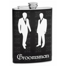 Groomsman Flask with White Outline Groomsmen
