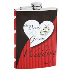 8oz Wedding Flask for Bride and Groom