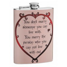 "8oz ""Can't Live Without You"" Wedding Flask"