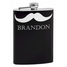 Personalized 8oz Hip Flask with Mustache