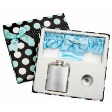 3oz Blue Garter Belt Flask with Free Engraving and Gift Box