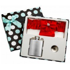 3oz Red Garter Belt Flask with Free Engraving and Gift Box