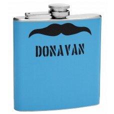 6oz Mustache Hip Flask, Customizable