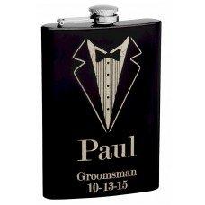 8oz Black Tuxedo Groomsmen Hip Flask with Personalization